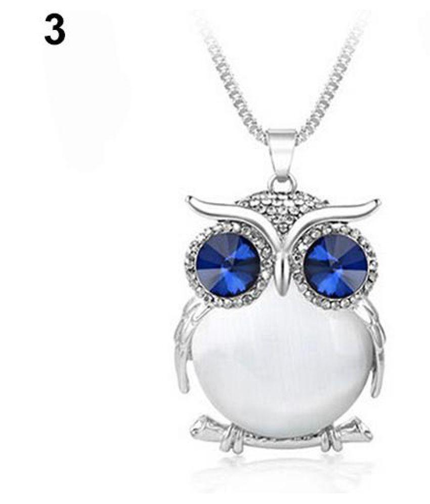 Women Rhinestone Crystal Owl Pendant Long Sweater Chain Necklace Fashion Jewelry