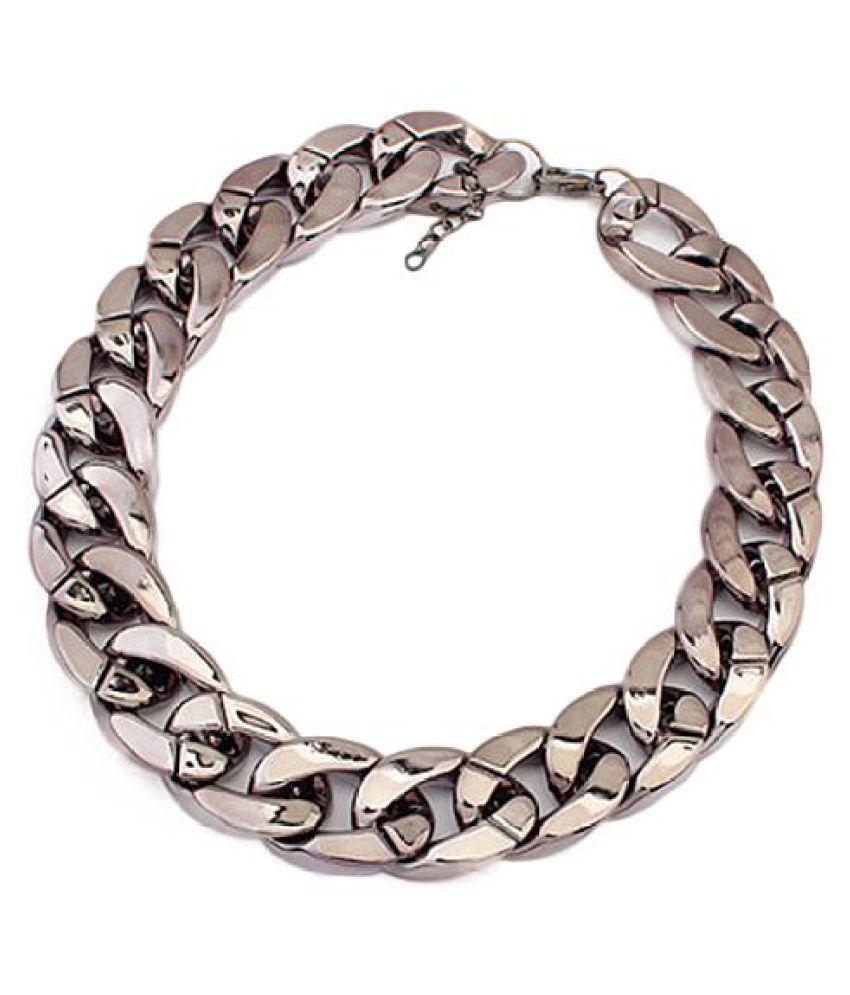 Women Simple Punk Style Cut Link Chain Choker Shiny All Match Necklace Jewelry Fashion Jewellery