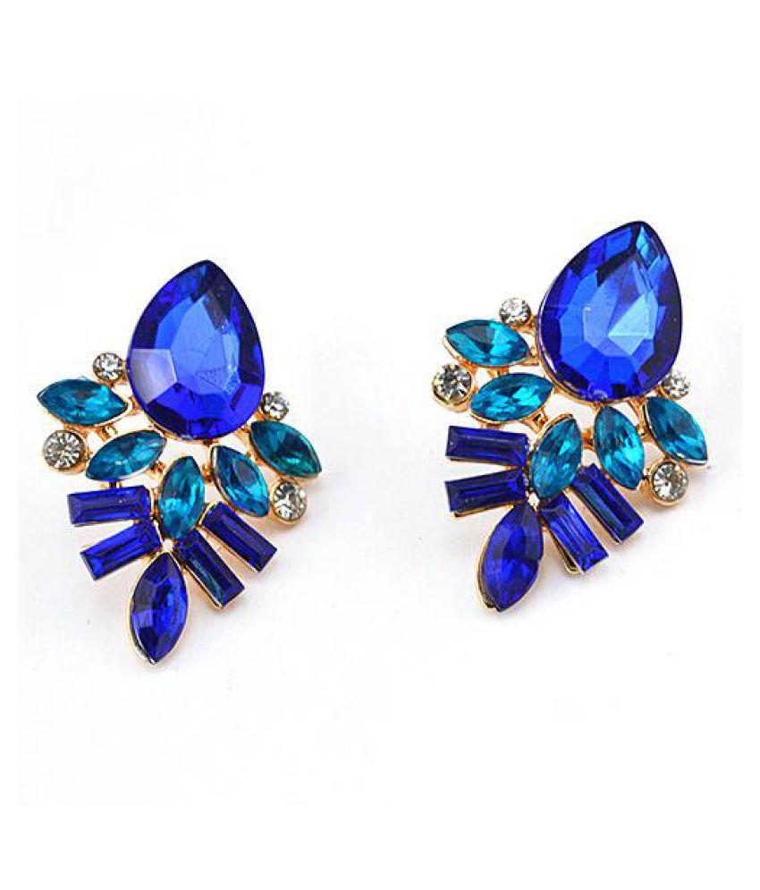Women's Fashion Golden Color Plated Waterdrop Rhinestone Eardrops Ear Studs Earrings Fashion Jewellery