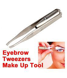 Stainless Steel Led Light Eyelash Eyebrow Hair Removal Tweezer Makeup Tool