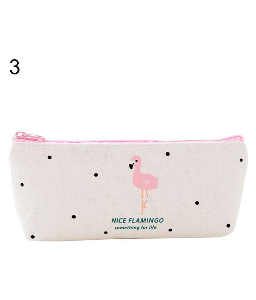Cartoon Flamingos Students Stationery Pencil Pen Bag Makeup Case Zipper Pouch