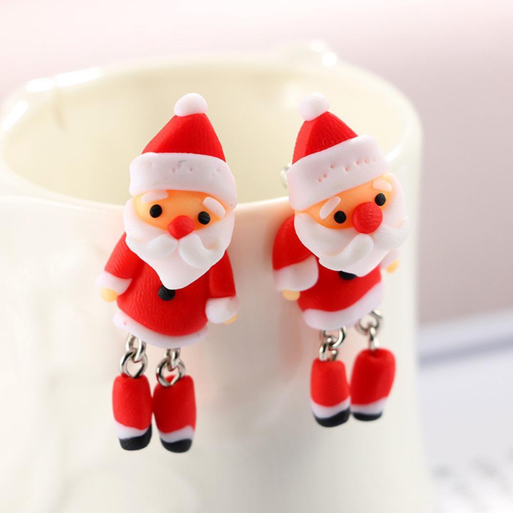 Cartoon Santa Claus Penguin 3D Cute Soft Ear Studs Women Earrings Xmas Jewelry Fashion Jewellery