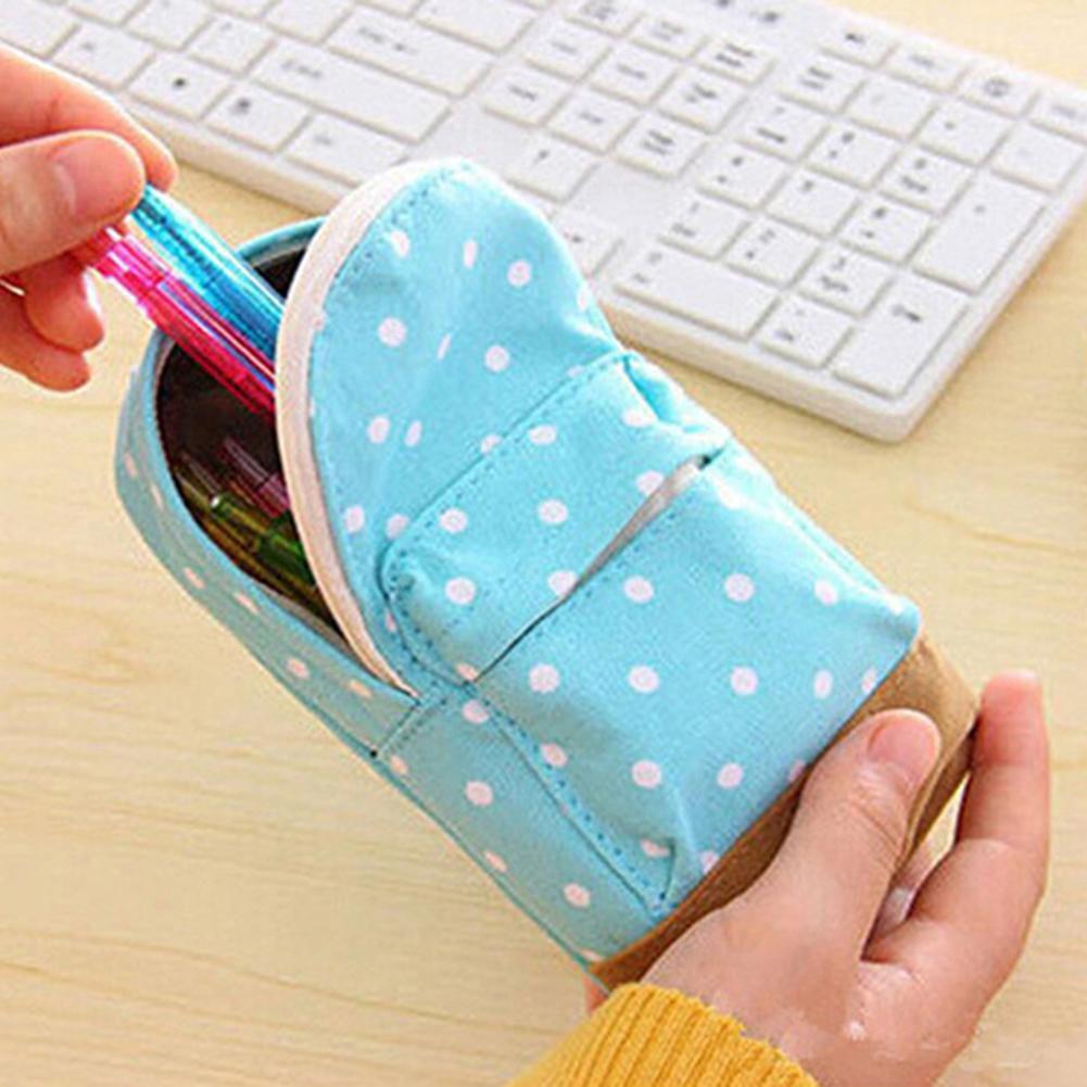 1 Pc Fashion Dot School Bag Student Canvas Zipper Pencil Pen Case Pouch Storage Gift