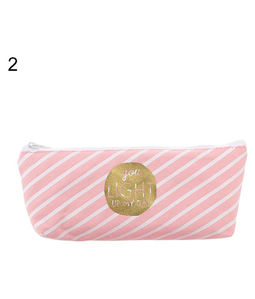 Lovely Canvas Pencil Case Bag Letter Print Stationery Storage Organizer Pouch