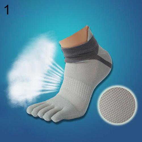 1 Pair Men's Cotton Blended Sports Five Finger Toe Socks Patchwork Mesh Socks