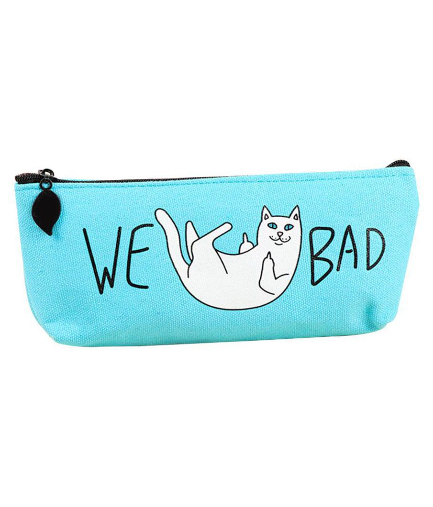Funny Cat Canvas Pencils Pen Bag Case Pouch Stationery Students School Supplies