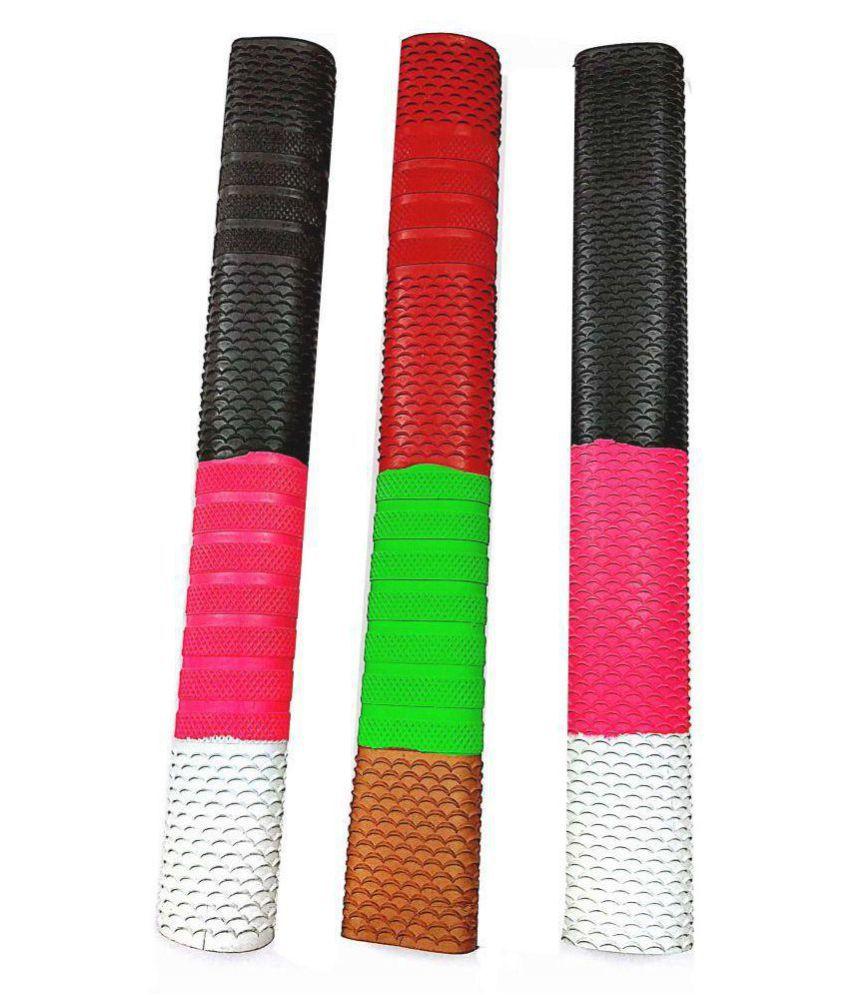 Emm Emm Pack of 3 Pcs Premium Multi Design Textured Cricket Rubber Bat Grips