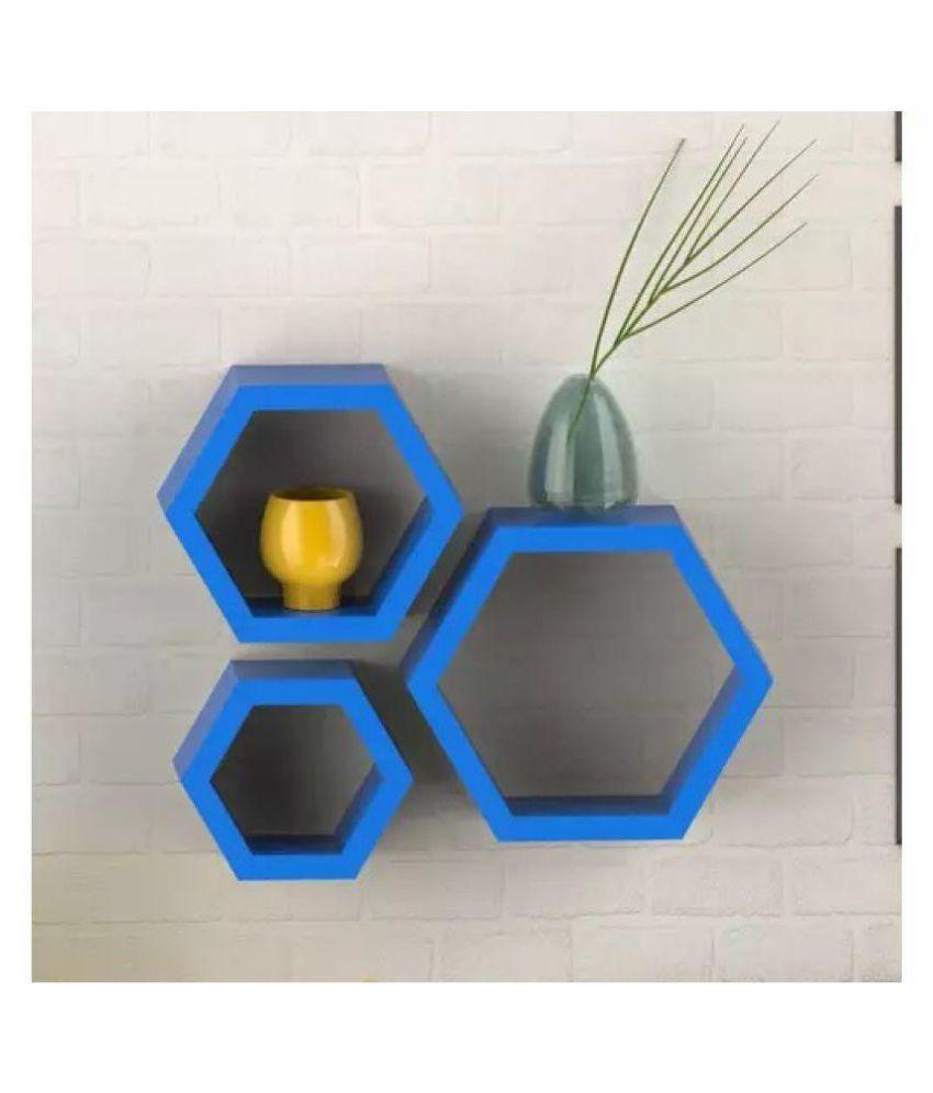 Onlineshoppee Floating Shelves Blue MDF - Pack of 3