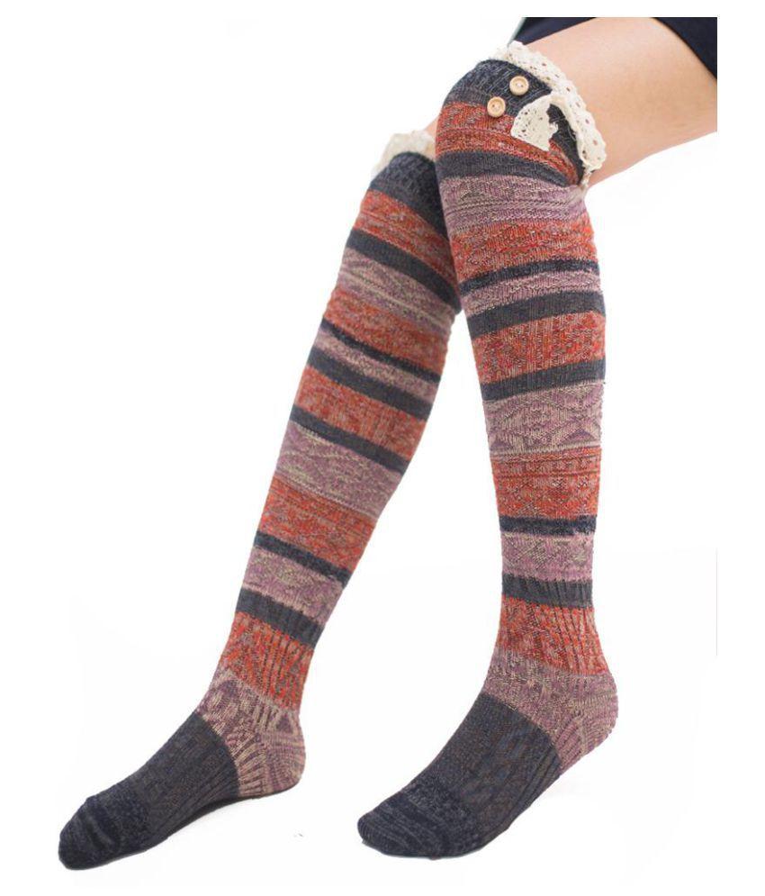 Fashion Stripes Lace Thigh Knee-high Leg Socks Women Cotton Warm Stockings
