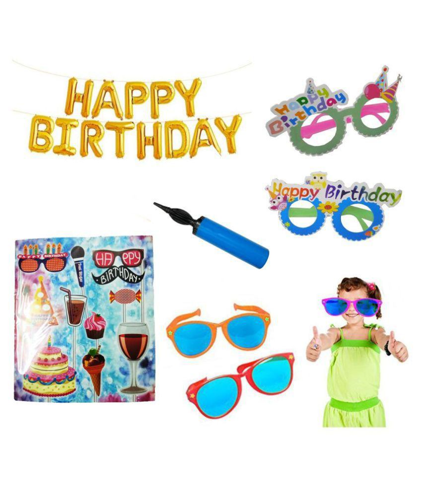 Vihaa Happy Birthday Golden Foil Balloons 13 Letters + 1 Hanging String/Ribbon Roll + 1 Air Pump + 2 Happy Birthday Goggles + 2 Funky Oversize Goggles + Party Props (Combo of 6)