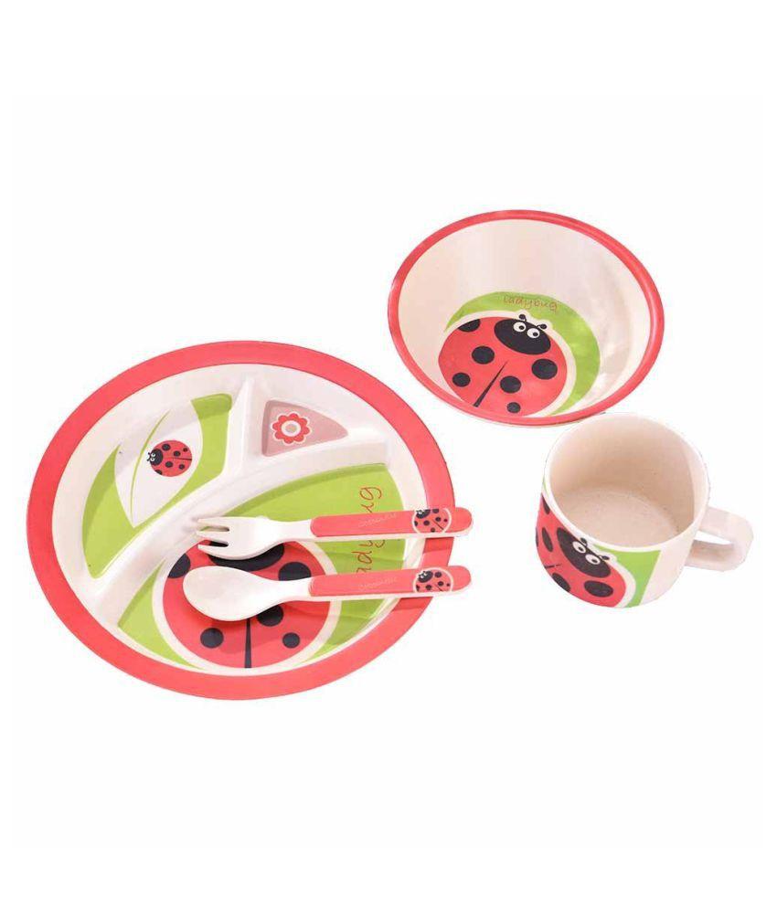EZ Life Kids Round - Ladybird Bamboo Dinner Set of 5 Pieces