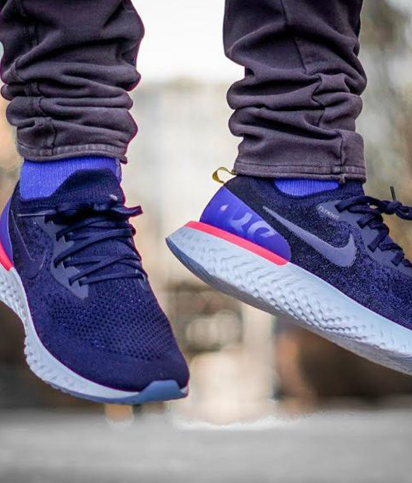 newest 3e932 7b4dd Nike Epic React Flyknit Blue Running Shoes