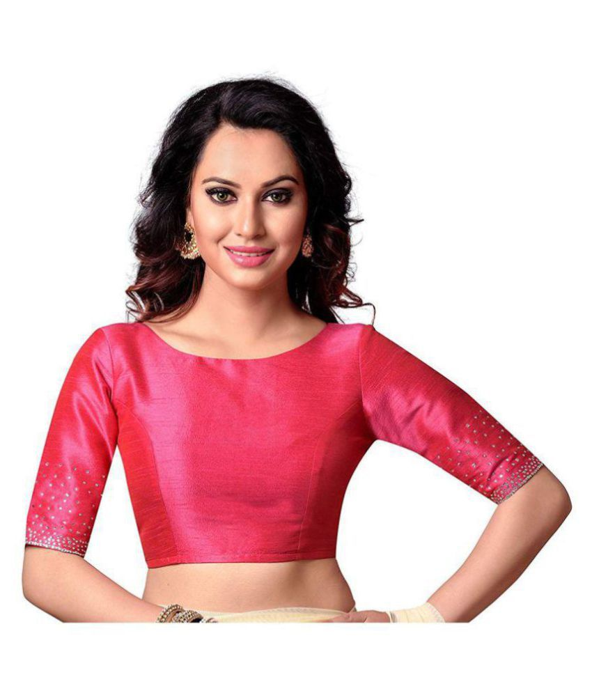 Xomantic Fashion Pink Silk Readymade with Pad Blouse