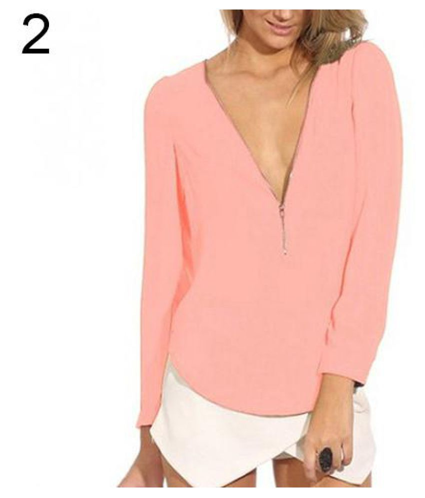 63651d06adef2d Buy Women s Fashion Casual Autumn V Neck Long Sleeve Zipper Sexy Tops  Chiffon Blouses Online at Best Prices in India - Snapdeal