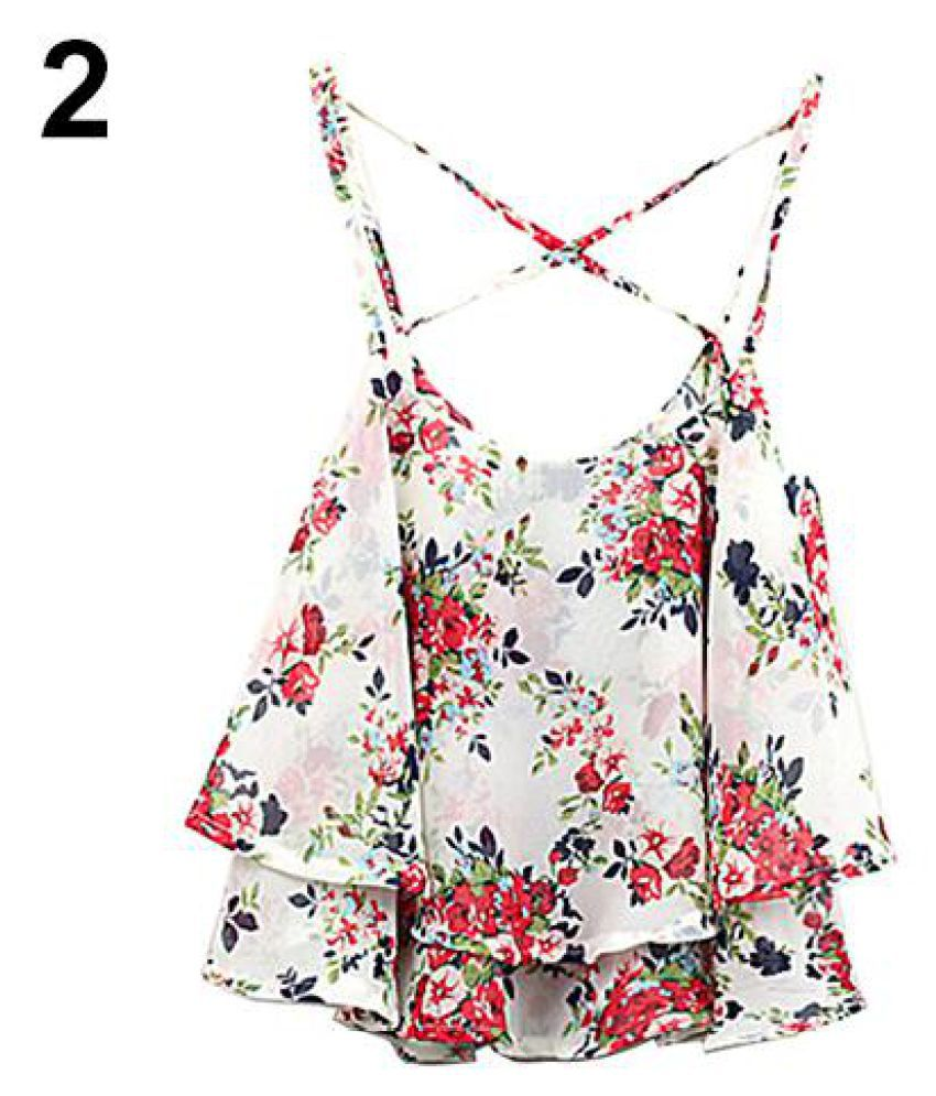 8c39871b70e7 Buy Women's Summer Spaghetti Strap Flower Print Chiffon Shirt Vest Blouses  Crop Top Online at Best Prices in India - Snapdeal