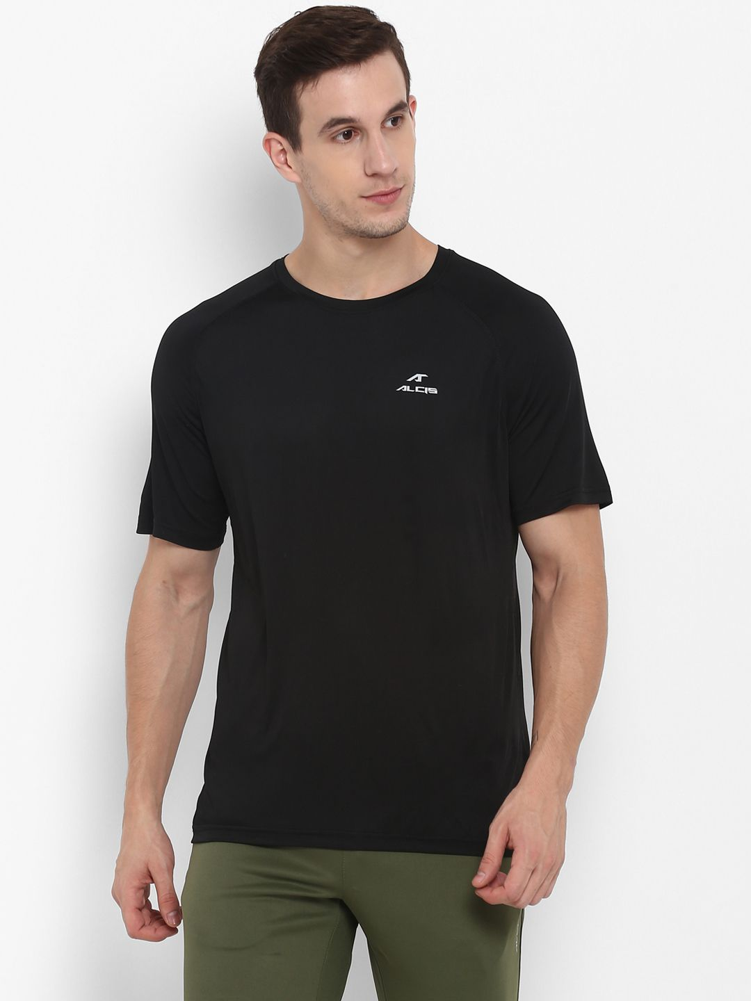 Alcis Black Half Sleeve T-Shirt Pack of 1