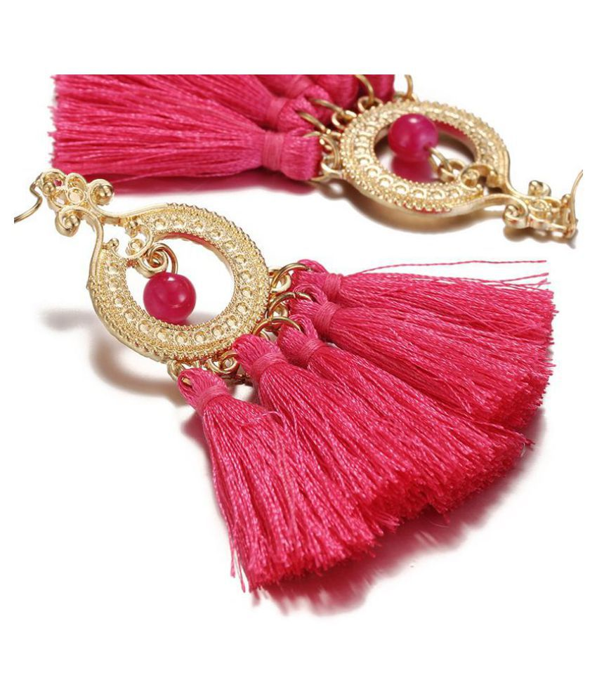 Bohemian Retro Multicolor Tassel Earrings Fashion Ladies Temperament Earrings Hand Earrings Jewelry