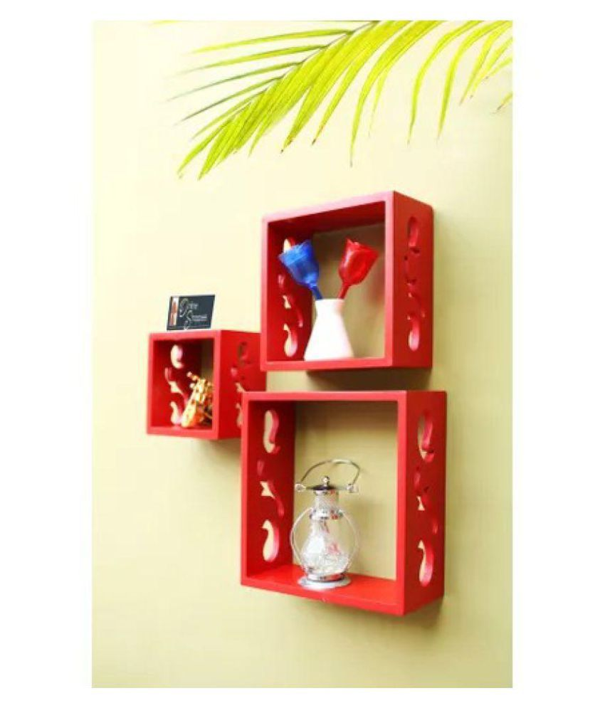 Onlineshoppee Floating Shelves Red MDF - Pack of 3