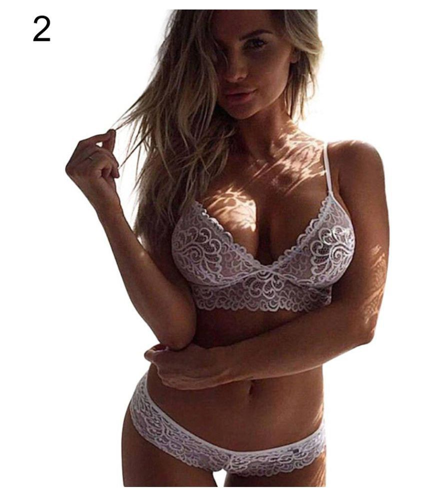 1c0f48dd8 Buy Women Sexy Underwear Plus Size Lace Pajamas Sleepwear Lace Bra G-string Set  Online at Best Prices in India - Snapdeal