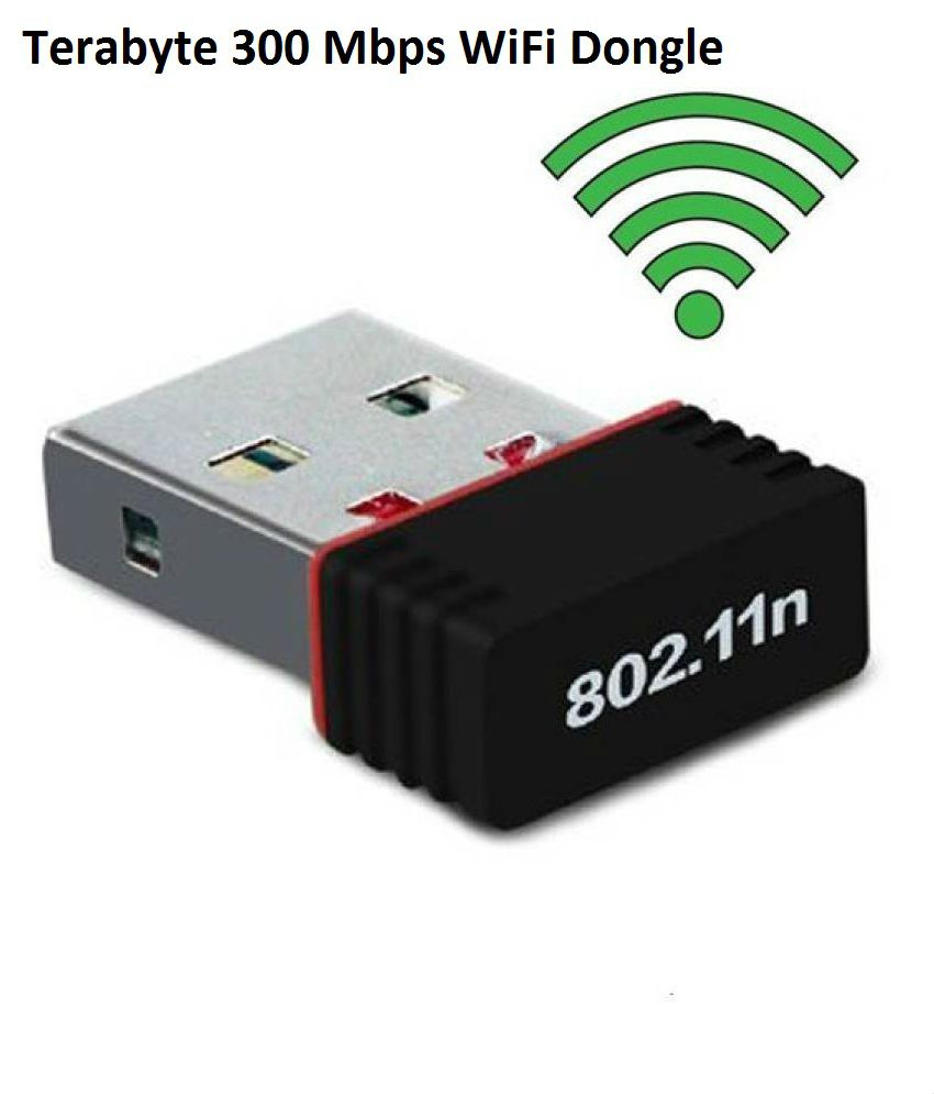 Terabyte Wifi Dongle 300Mbps Wi Fi 2.4GHz Small Wireless LAN Network Card External USB Adapter  (Black)