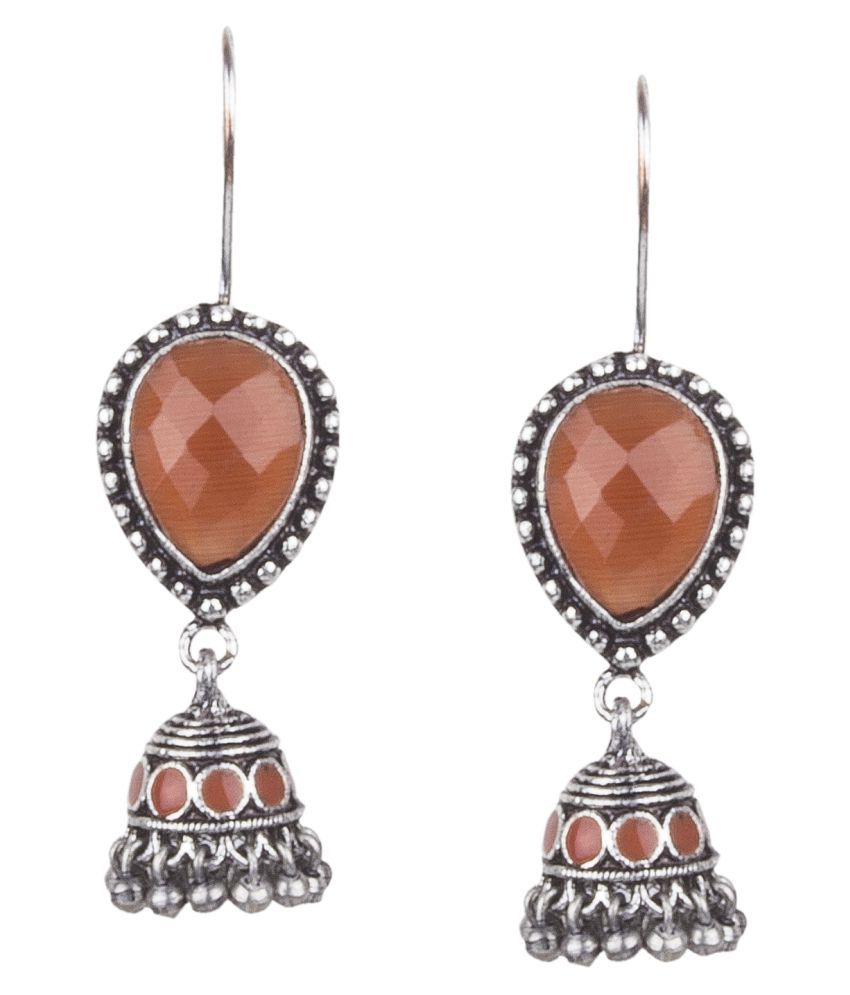 Piah Fashion Admirable \nOxidised Silver Orange Turquoise Stone With Beaded Dangling Earring For Women & Girls