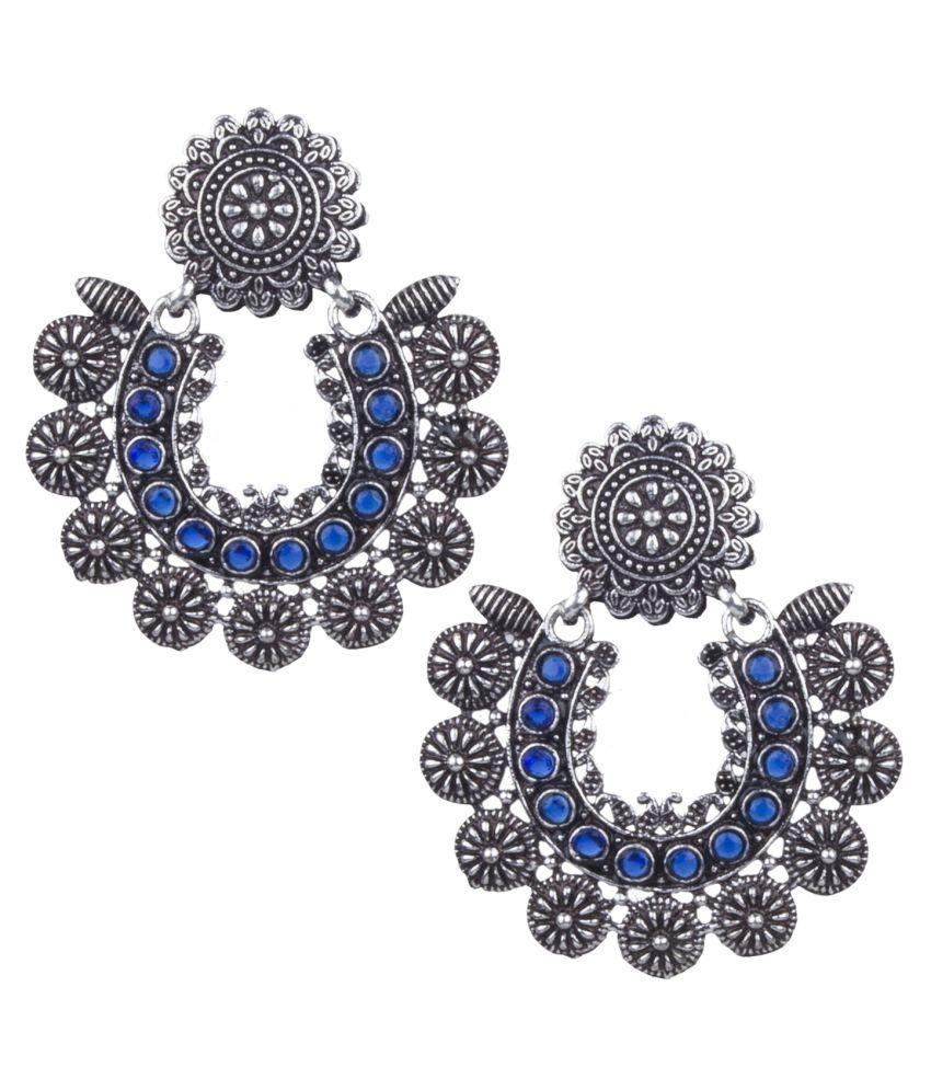 Piah Fashion Angetic silver Oxidised \nBlue Beaded Stylish Earring For Women & Girls