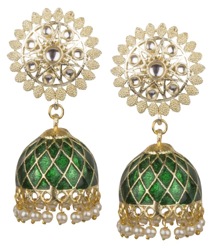 Piah Fashion Charming\nGold Plated Green Minakari Jhumkhi With Hanging Pearls Earring For Women & Girls