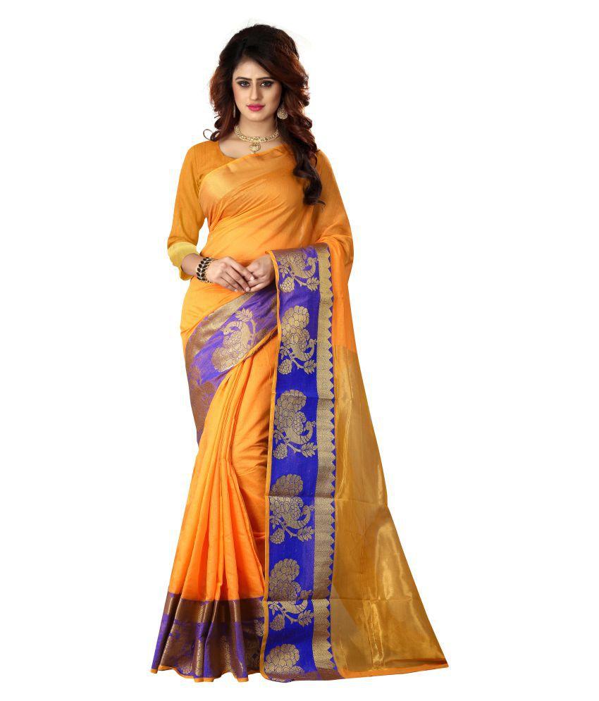 V sales Yellow Cotton Silk Saree