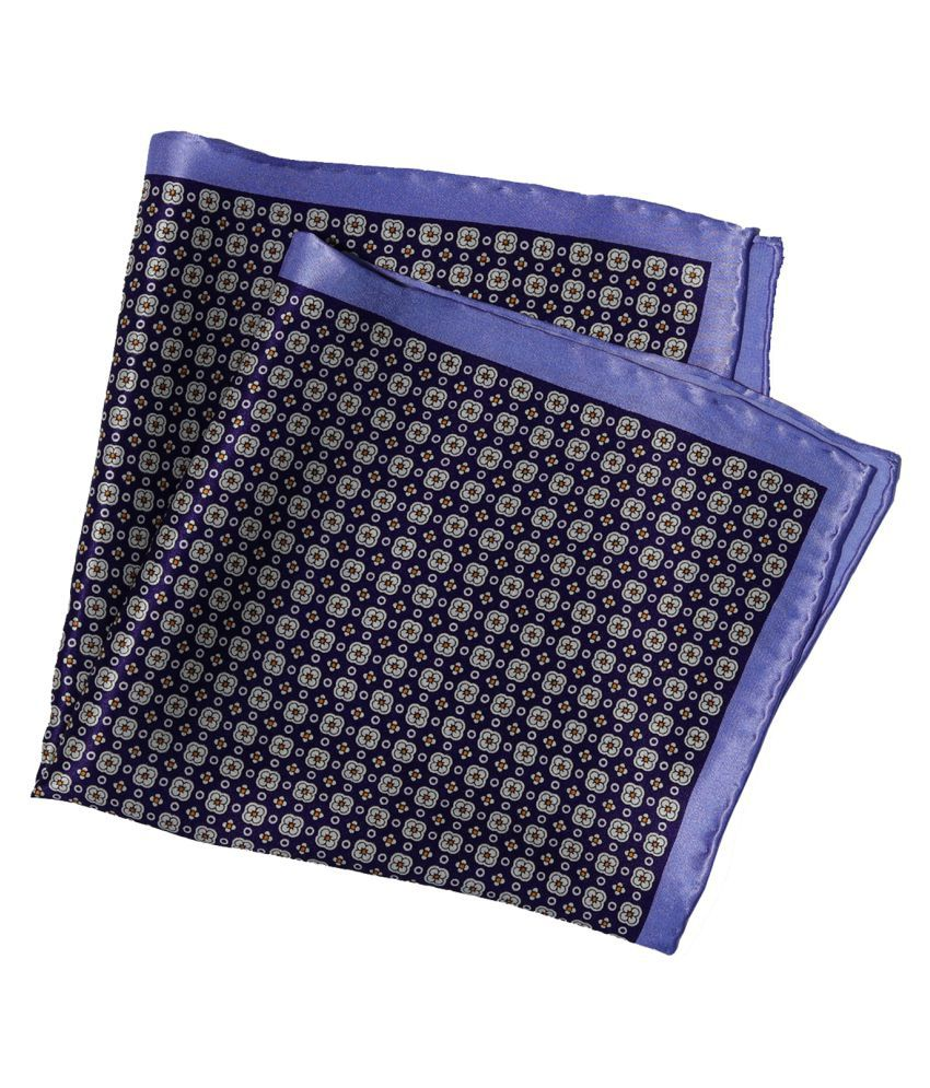 69th Avenue Blue Silk Printed Free Size Pocket Square for Men