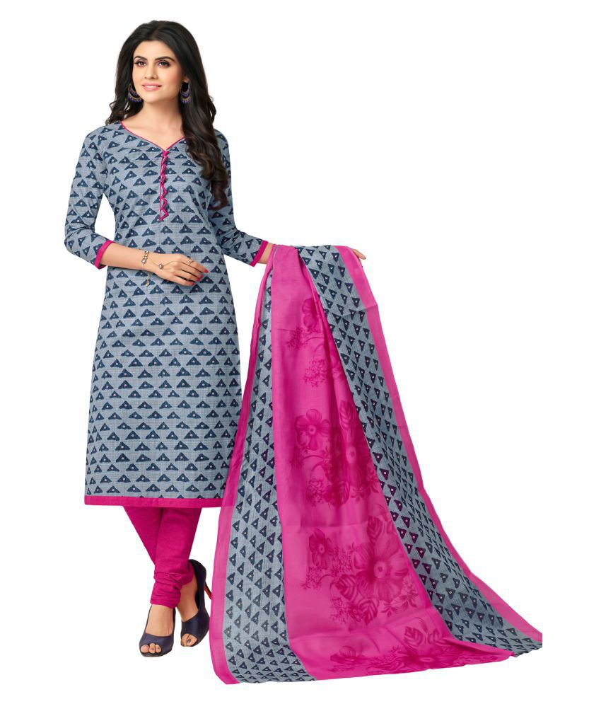 Salwar Studio Grey,Pink Cotton Dress Material
