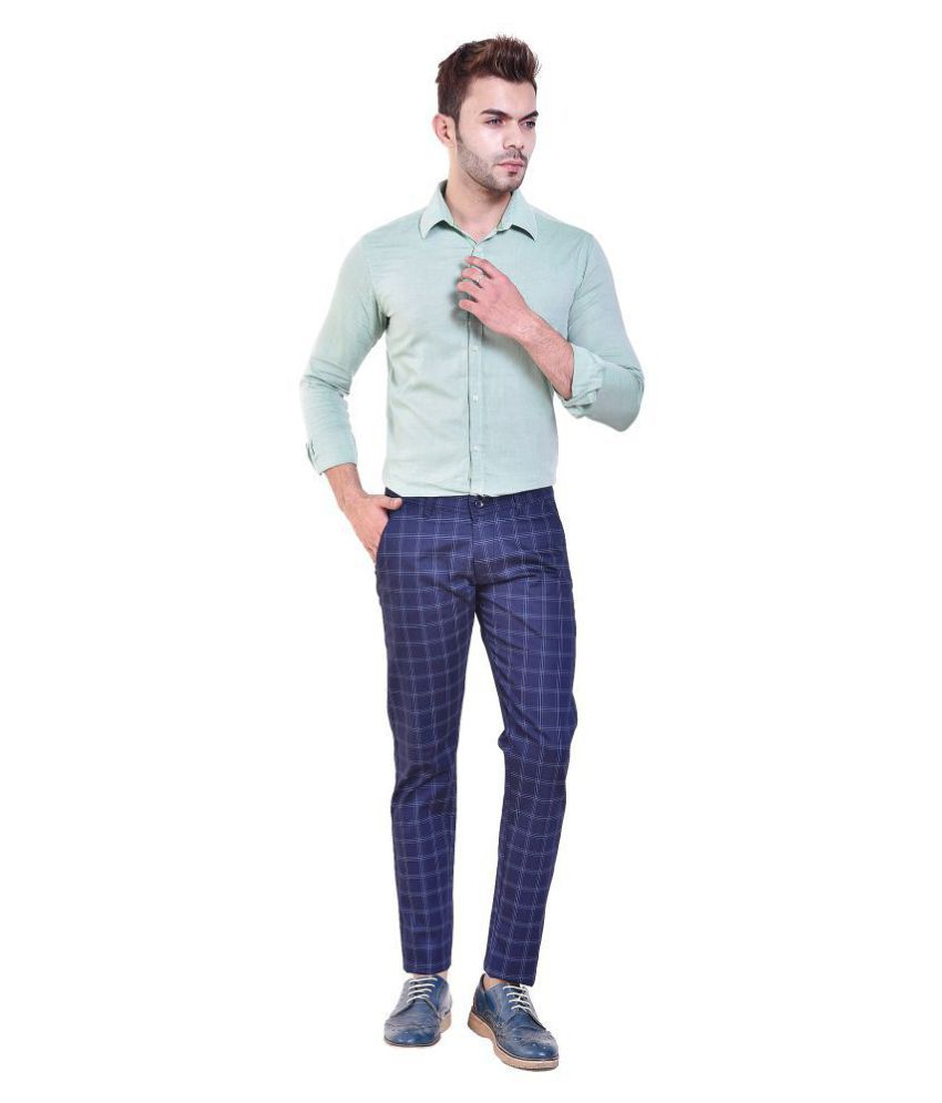 Rugs99 Blue Slim -Fit Pleated Trousers