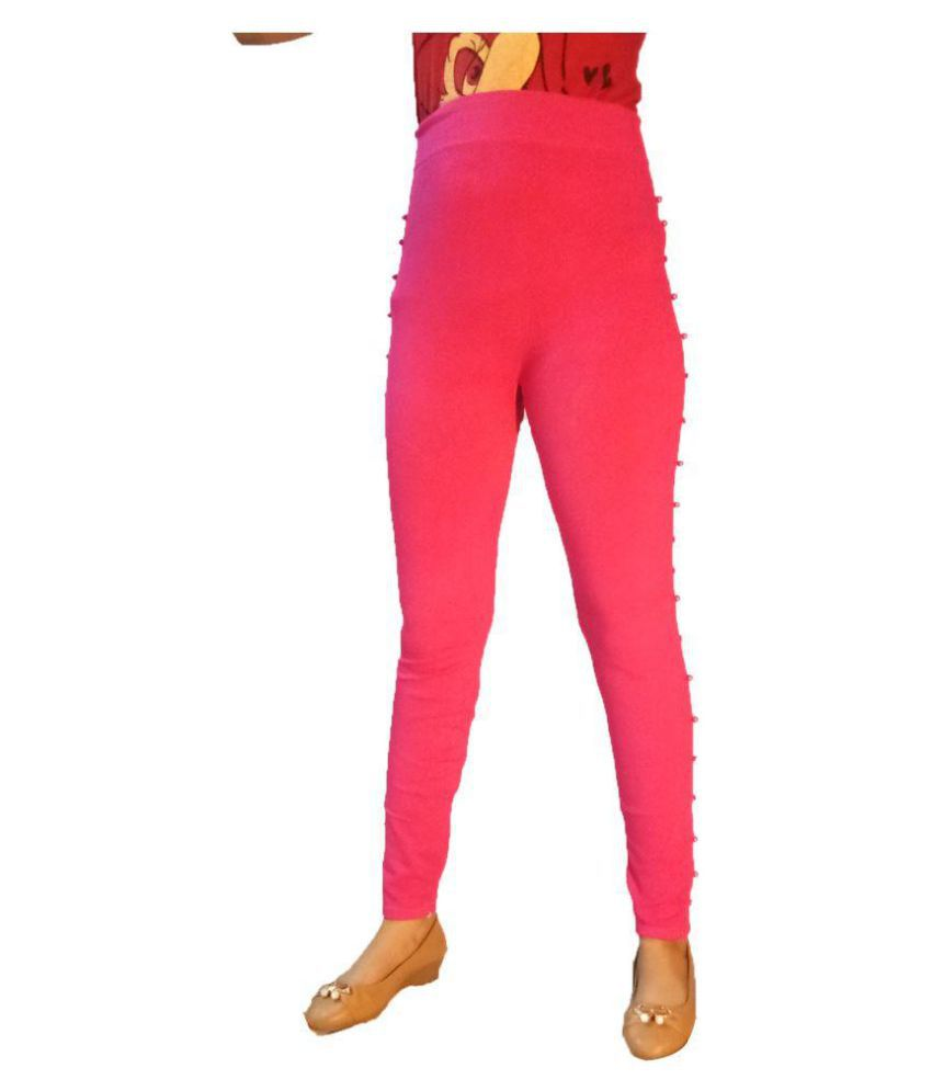 AZAD DYEING Cotton Lycra Jeggings - Pink