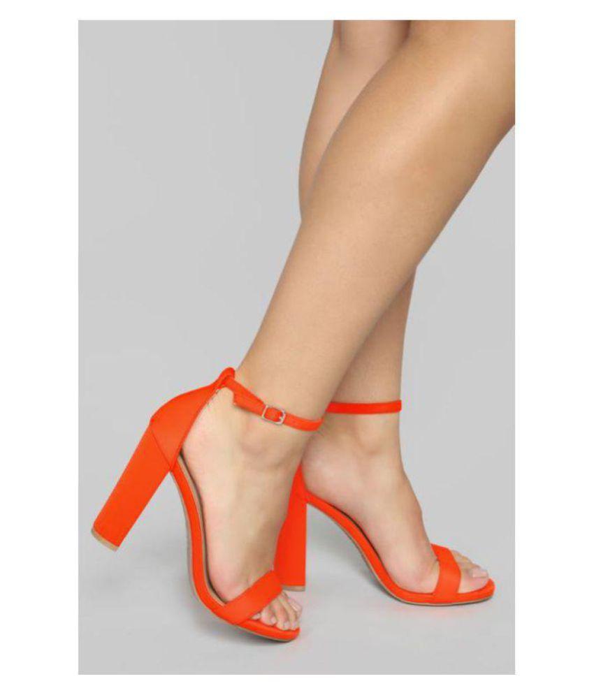 e62aec461d4 SHOFIEE Orange Block Ankle Strap Heels Sandal