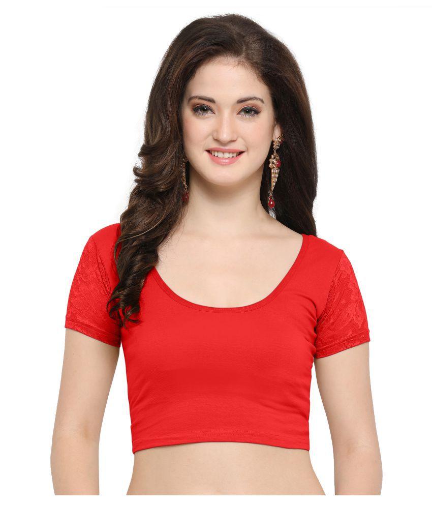 Janasya Red Lycra Readymade without Pad Blouse
