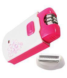 Jm Kemei Women Rechargeable Ladies Body Hair Remover Epilator Eyebrow Shaver Trimmer Razor Clipper ( White & Pink )