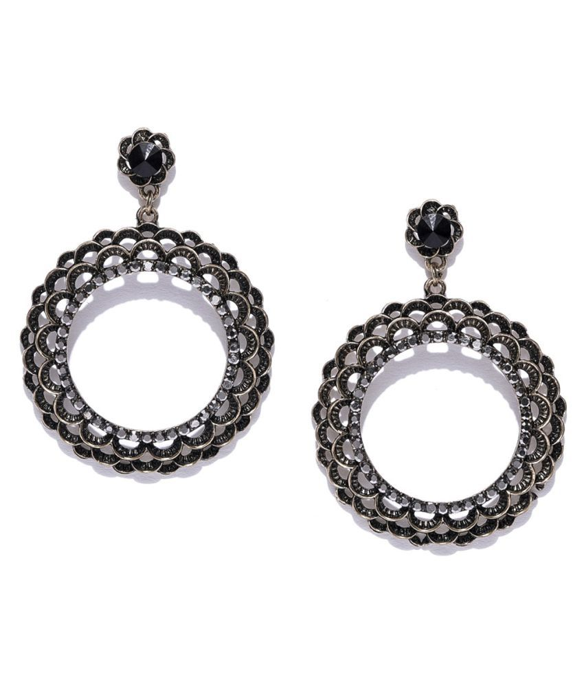 Jewels Galaxy Elegant Floral Design Oxidized Gold Fabulous Drop Earrings For Women/Girls