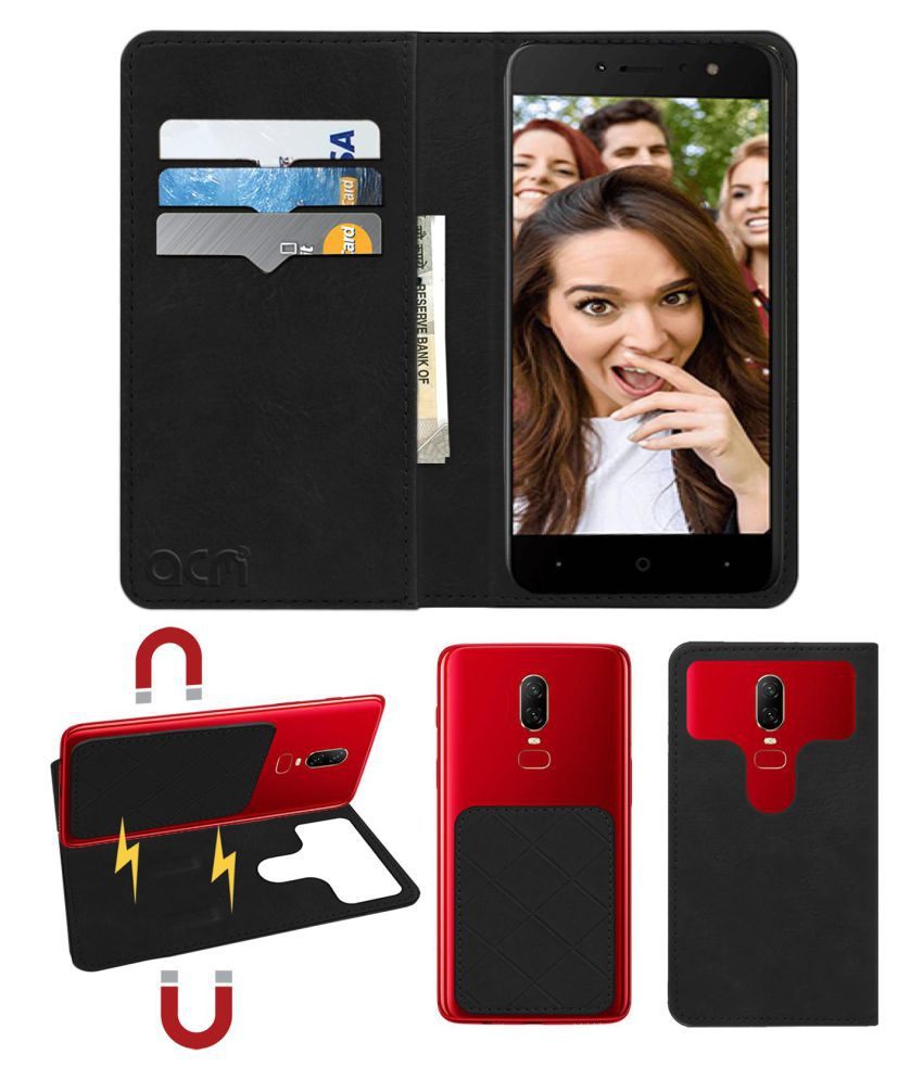 Itel S41 Flip Cover by ACM - Black 2 in 1 Detachable Case,Attachable Flip With Magnet