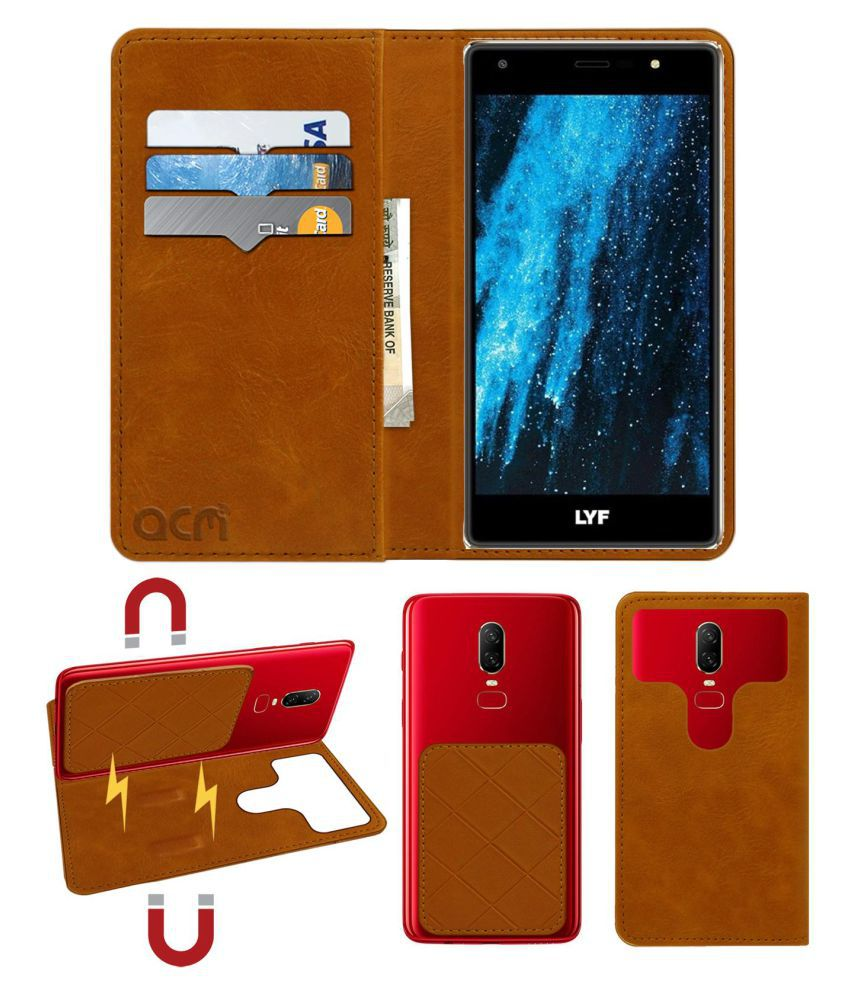 Lyf Water F1S Flip Cover by ACM - Golden 2 in 1 Detachable Case,Attachable Flip With Magnet