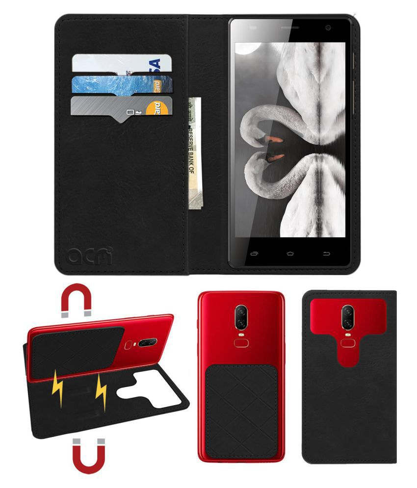 Spice Xlife 520 HD Flip Cover by ACM - Black 2 in 1 Detachable Case,Attachable Flip With Magnet