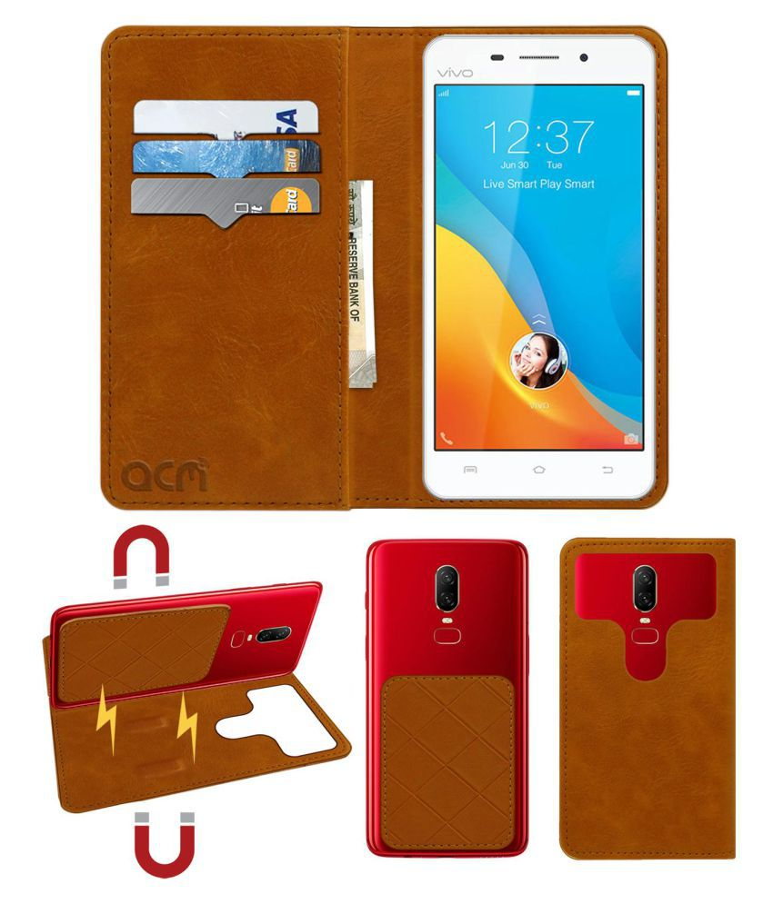 Vivo V1 Flip Cover by ACM - Golden 2 in 1 Detachable Case,Attachable Flip With Magnet
