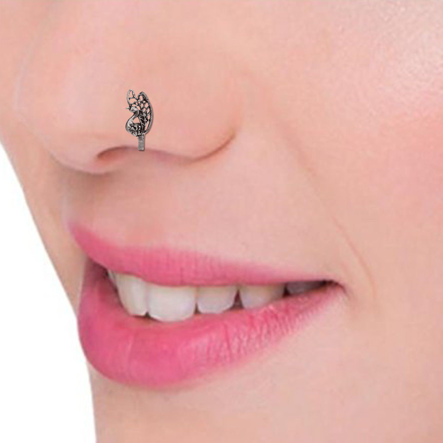 Efulgenz Oxidised Silver Open Hoop Clip On Nose Pin Stud Ring