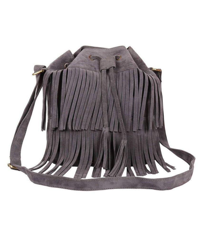 Lychee Bags Gray P.U. Sling Bag