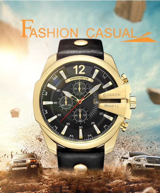 Curren Cur 8176 Black Gold Stainless