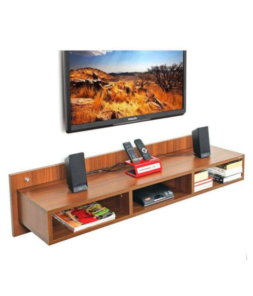 Bluewud Reynold TV Entertainment Unit Wall Set Top Box Stand Shelf(Walnut, Large)