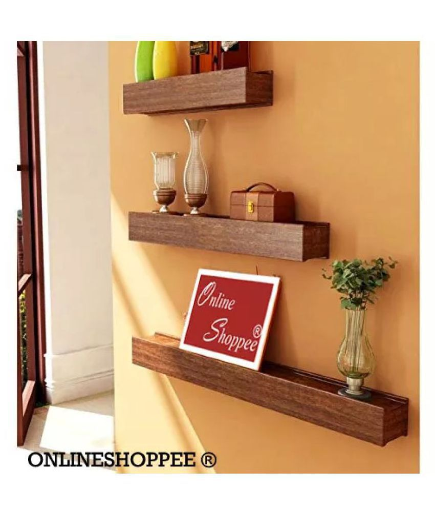 Onlineshoppee Floating Shelves Brown Wood - Pack of 3