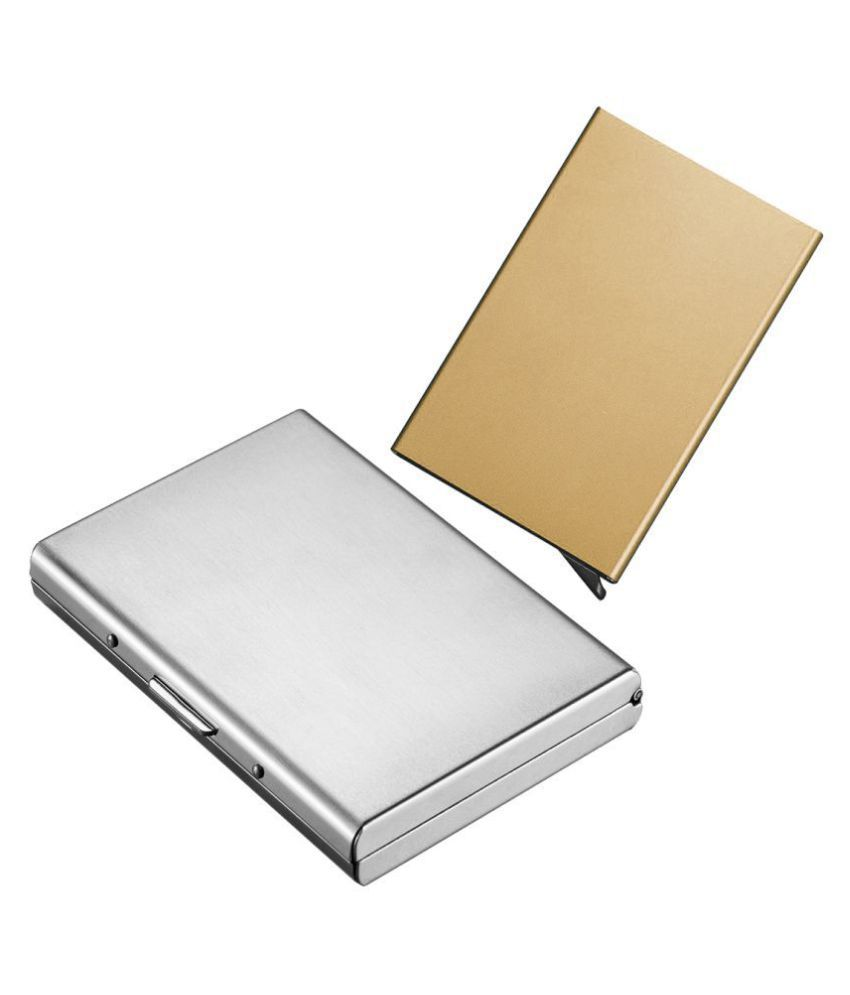 Stealodeal Gold Automatic Pop-Up RFID Case With Silver Debit Cards Keeping  Card Holder