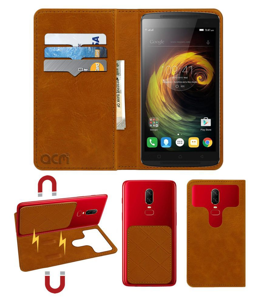 Lenovo K4 Note Flip Cover by ACM - Golden 2 in 1 Detachable Case,Attachable Flip With Magnet