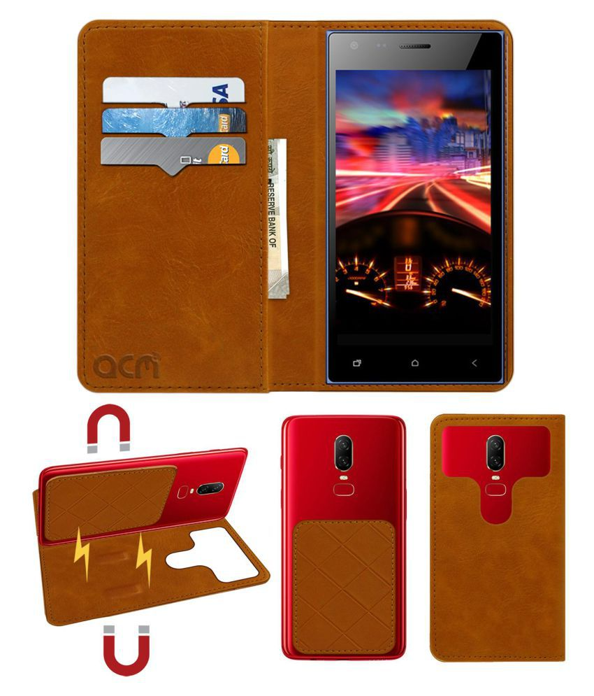 Micromax Canvas Xpress 4G Q413 Flip Cover by ACM - Golden 2 in 1 Detachable Case,Attachable Flip With Magnet