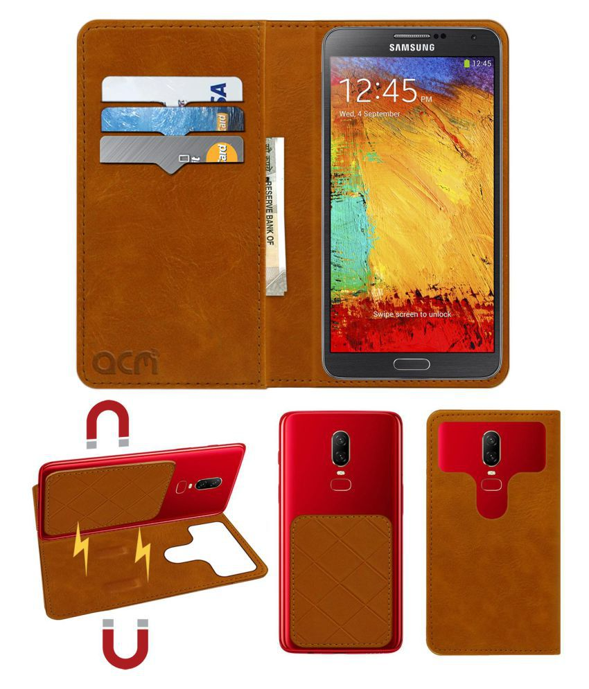 Samsung Galaxy Note 3 Flip Cover by ACM - Golden 2 in 1 Detachable Case,Attachable Flip With Magnet