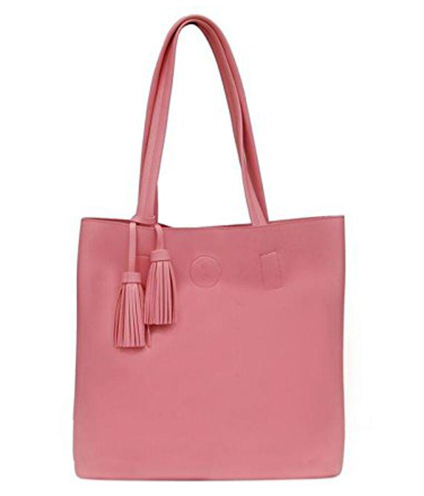 Inbrid Pink Artificial Leather Tote Bag